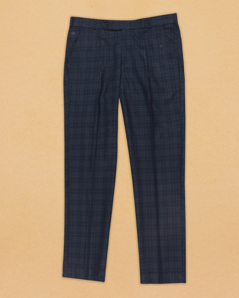 Peacock Blue with Grey and Maroon Checked Terry-Rayon Formal Pant
