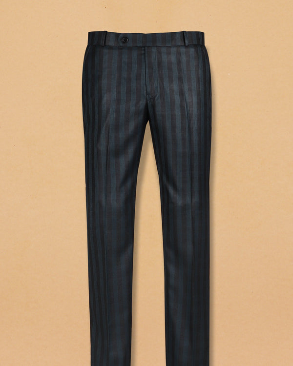 Grey with Green striped Formal Pant