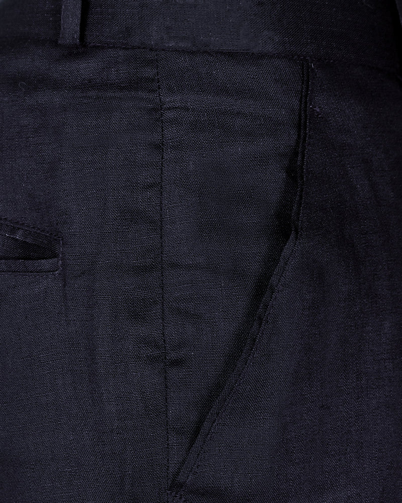 Dark Blue Linen Performance Trouser