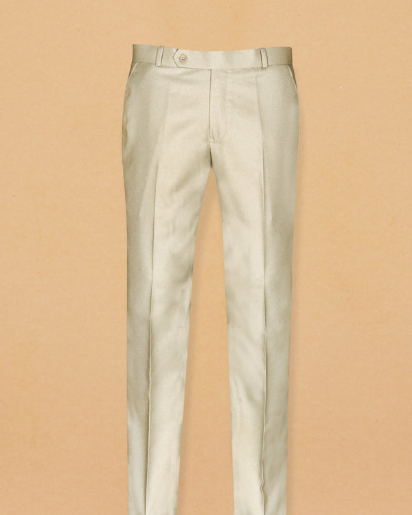 Cream textured Terry Rayon TROUSER