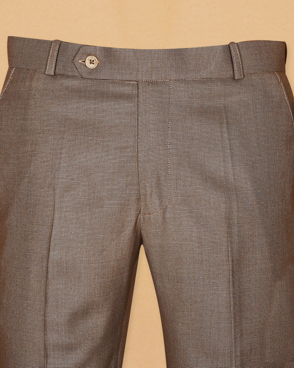 Brown Pinpoint textured Trouser