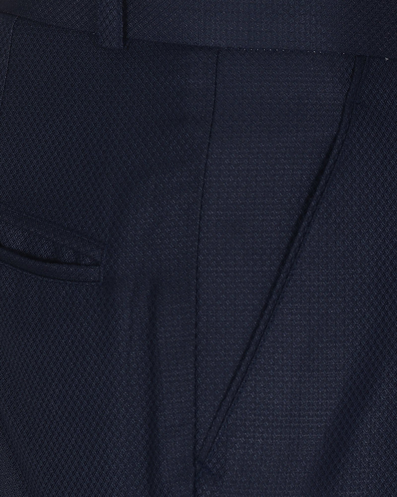 Berry Blue Diamond Textured Trouser