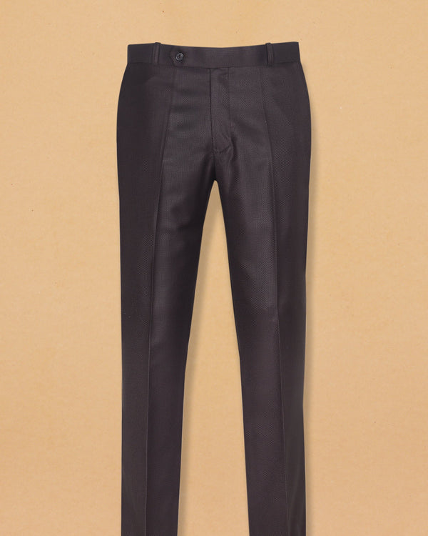 Brown Diamond Textured Trouser