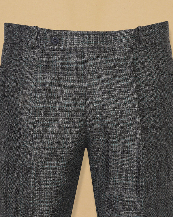 Charcoal Plaid Wool Blend Pant