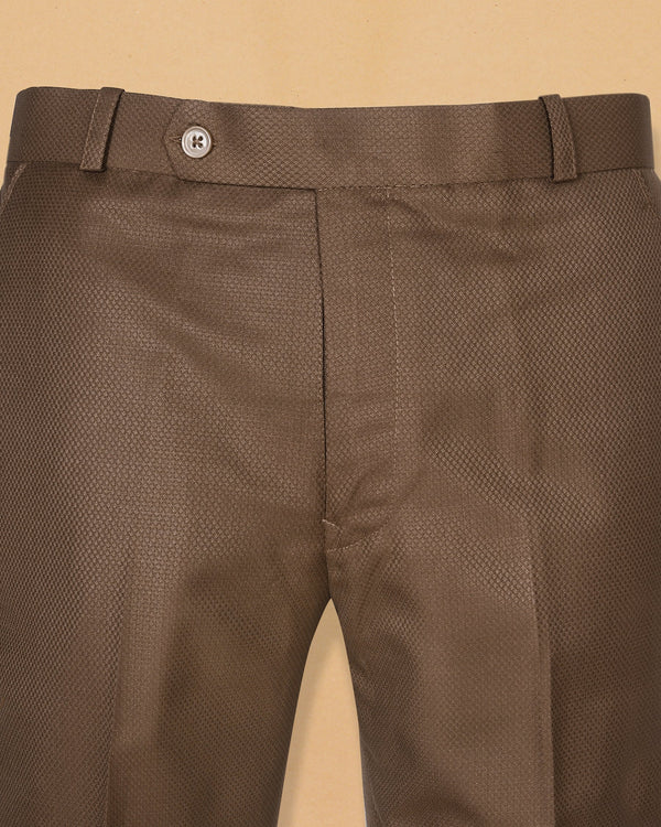 Gingerbread Brown Diamond Textured Trouser
