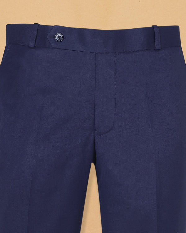 Rich Blue Regular Fit Formal Pant