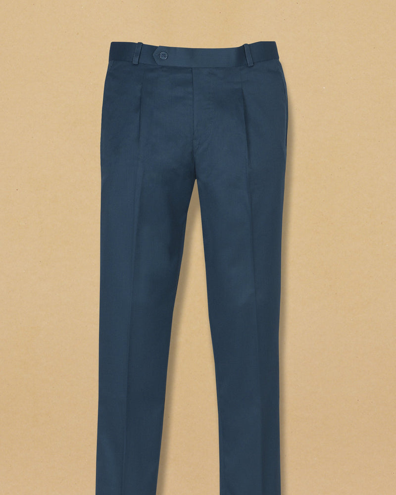 Prussian Blue Regular fit Formal Pant