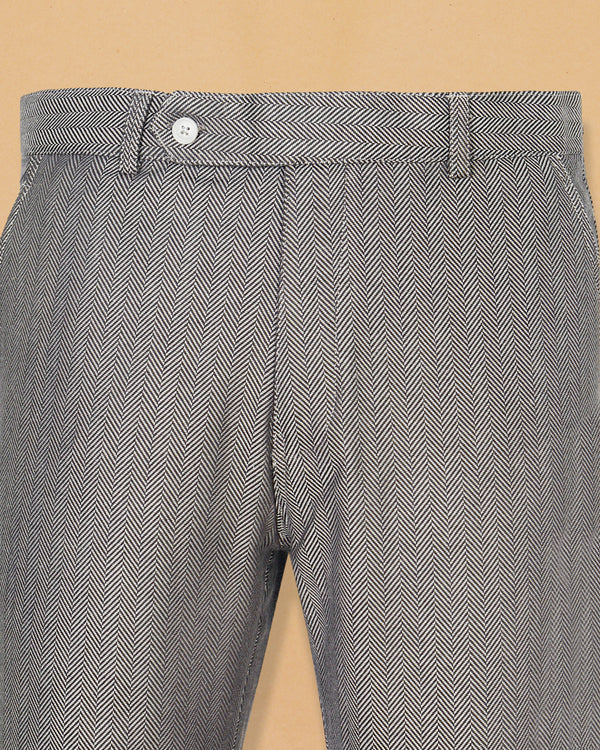 Grey Herringbone Striped Wool Pant