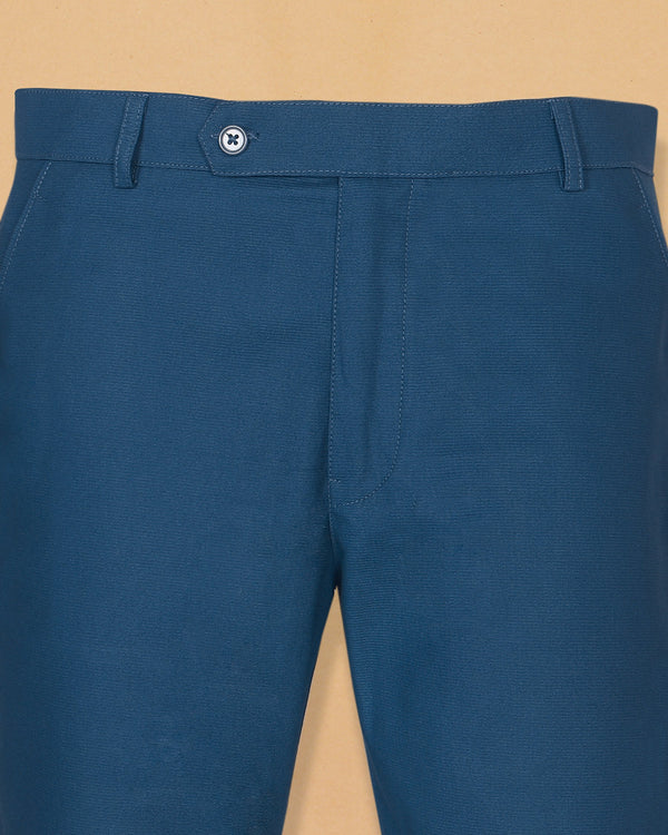 Cobalt Blue Heavyweight Regular fit Cotton Chino
