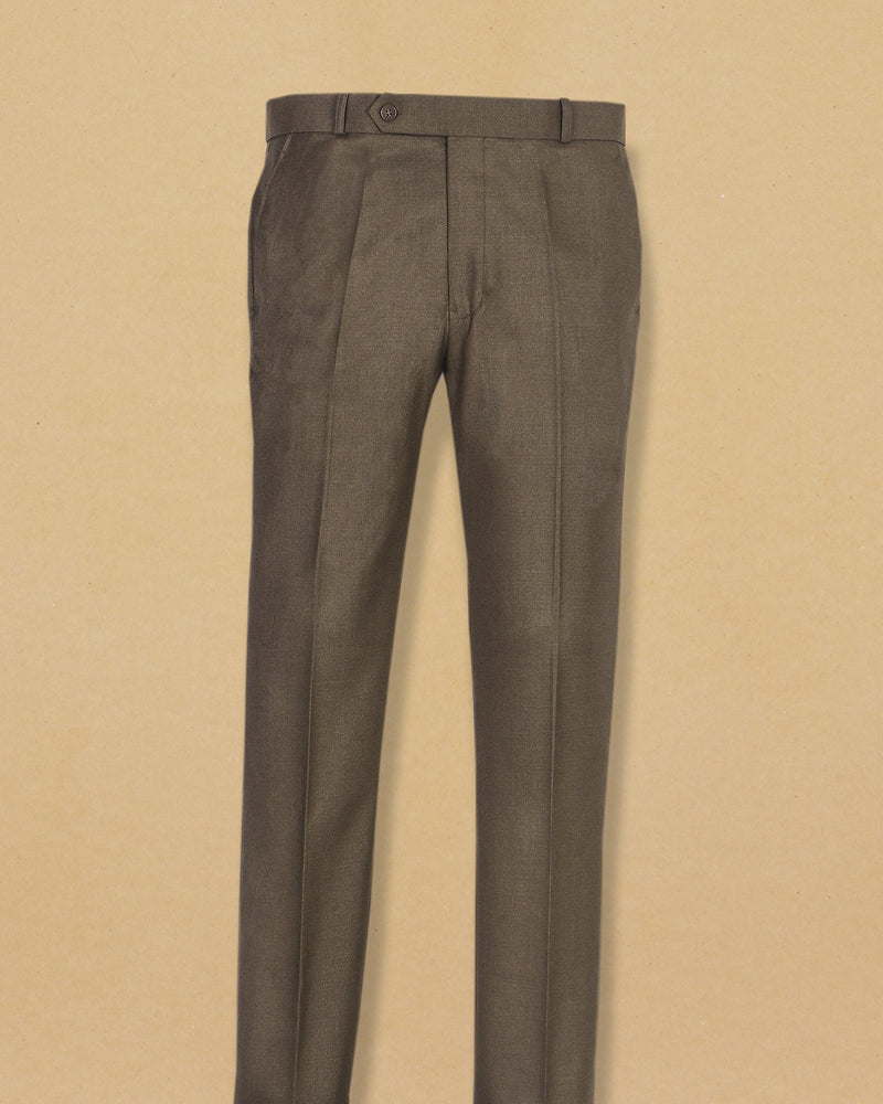 Peanut Brown Micro Textured Terry Rayon Formal Pant