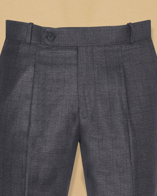 Charcoal and Navy Plaid Wool Blend Pant