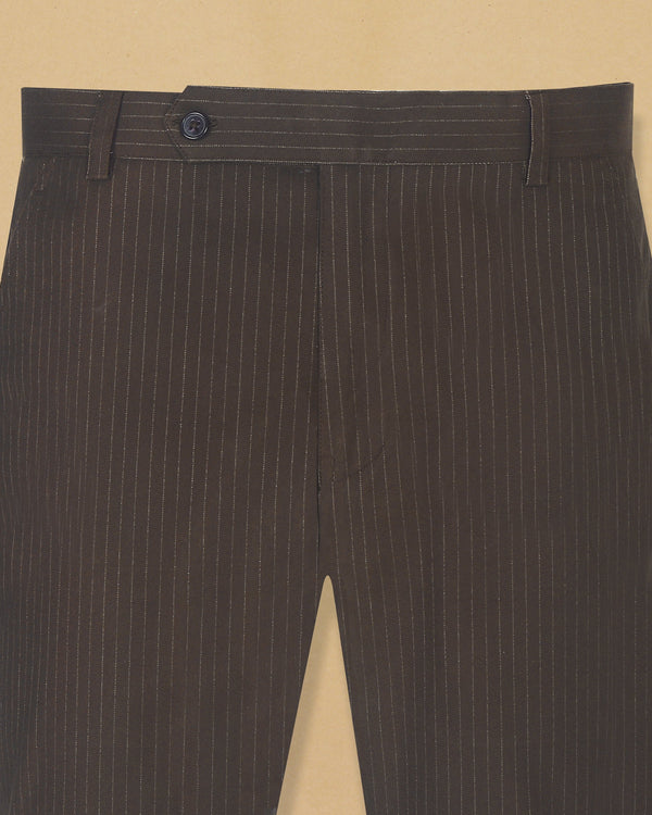 Brown Striped Heavyweight Regular fit Cotton Pant