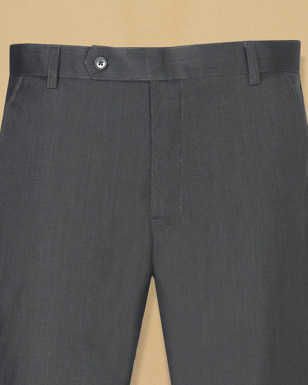 Pebble Grey Pinstripe lightweight Regular fit Cotton Pant