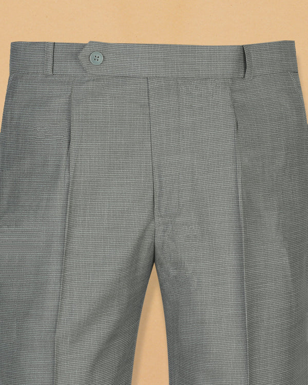 Light Grey Houndstooth Wool Blend Pant