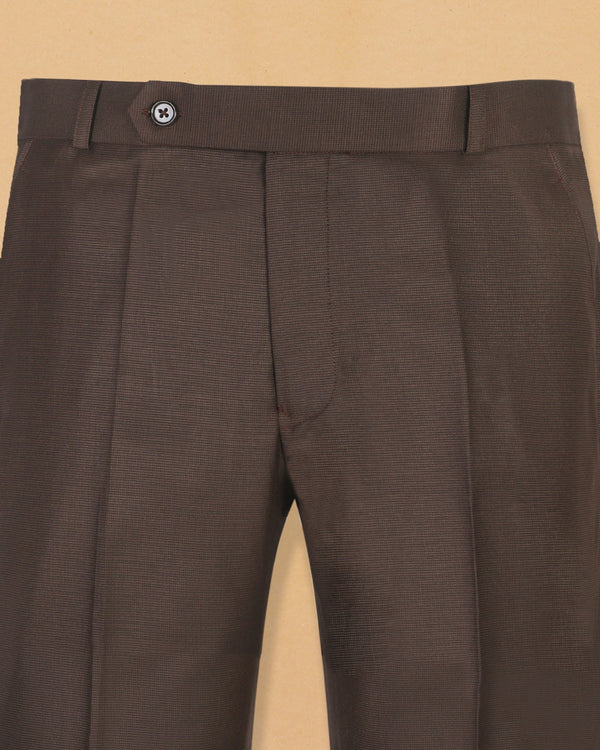 Hickory Brown Textured Formal Pant