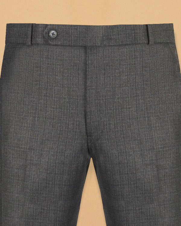 Charcoal Subtle Checked Wool Pant