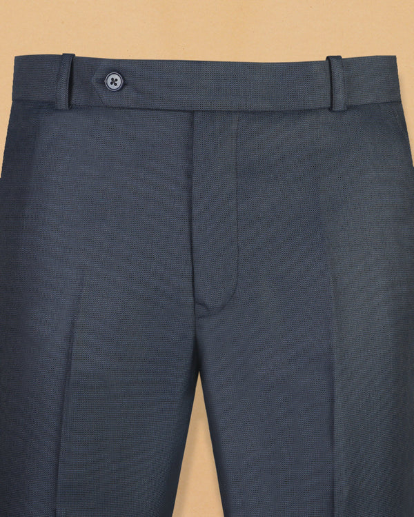 Steel Blue Subtle Checked Formal Pant