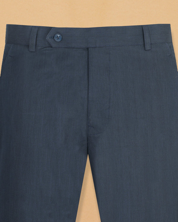 Navy Pinpoint Cotton Pant