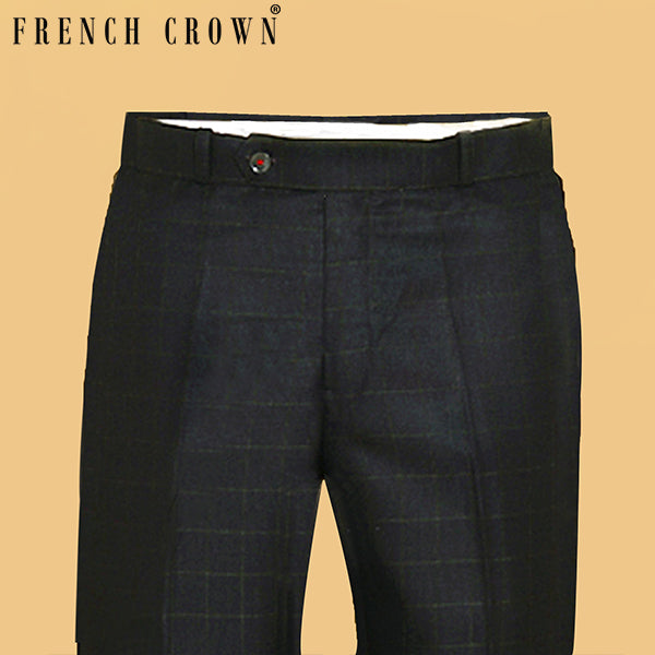Brown with Green Checked Regular fit Tere-Rayon Formal Pant
