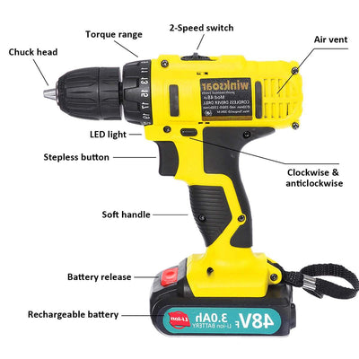 Winksoar 48v Rechargeable Drill Impact Driver Cordless Electric Screwdriver - Giftigift