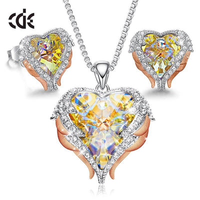 Women's Angel Wing Heart Design Necklace & Matching Earrings Jewelry Set Embellished With Swarovski Crystals Fashion Jewels - Giftigift