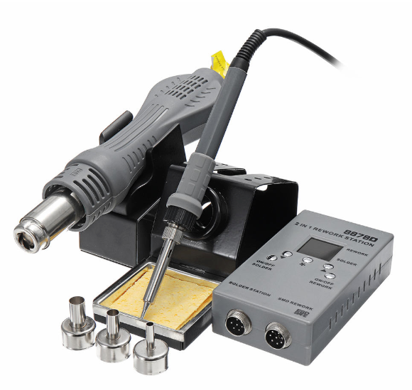 WeldPlus 8878D 2-In-1 Rework Soldering Station Hot Air Welding Solder Iron Repair Tool - US Plug