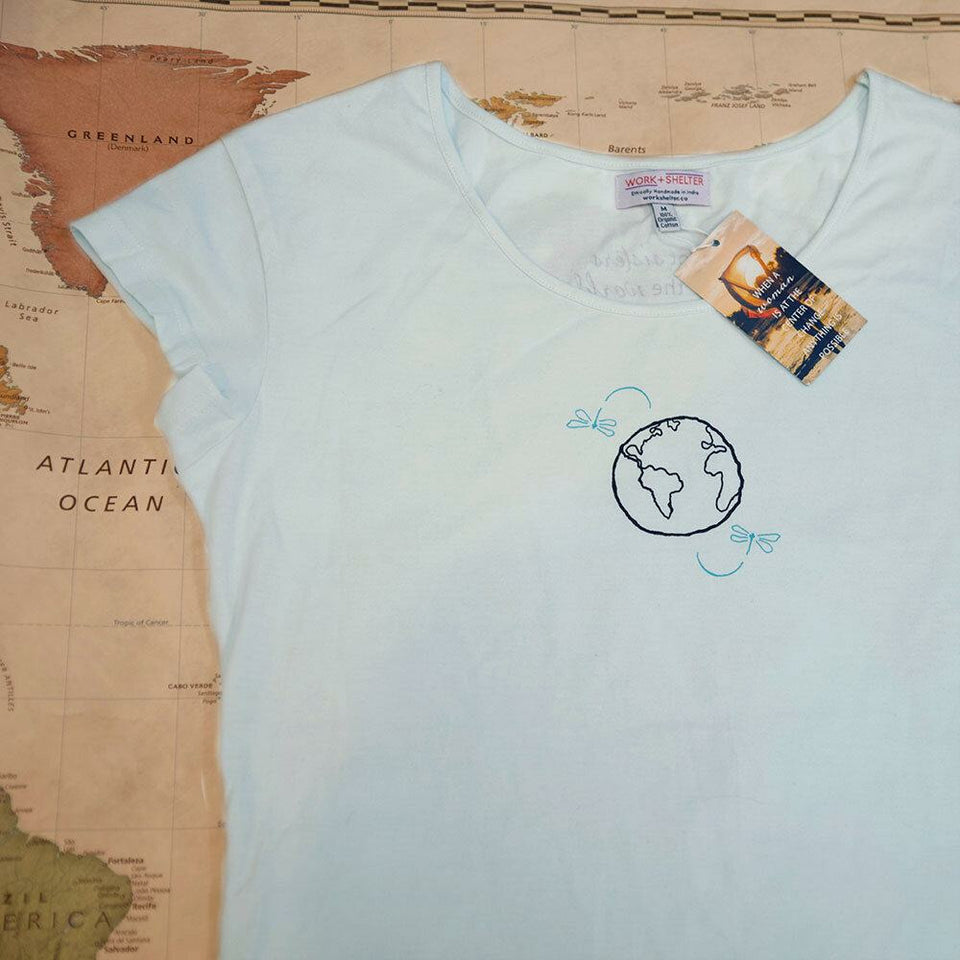 """I've Got Sisters All Over the World Light Blue T-shirt"