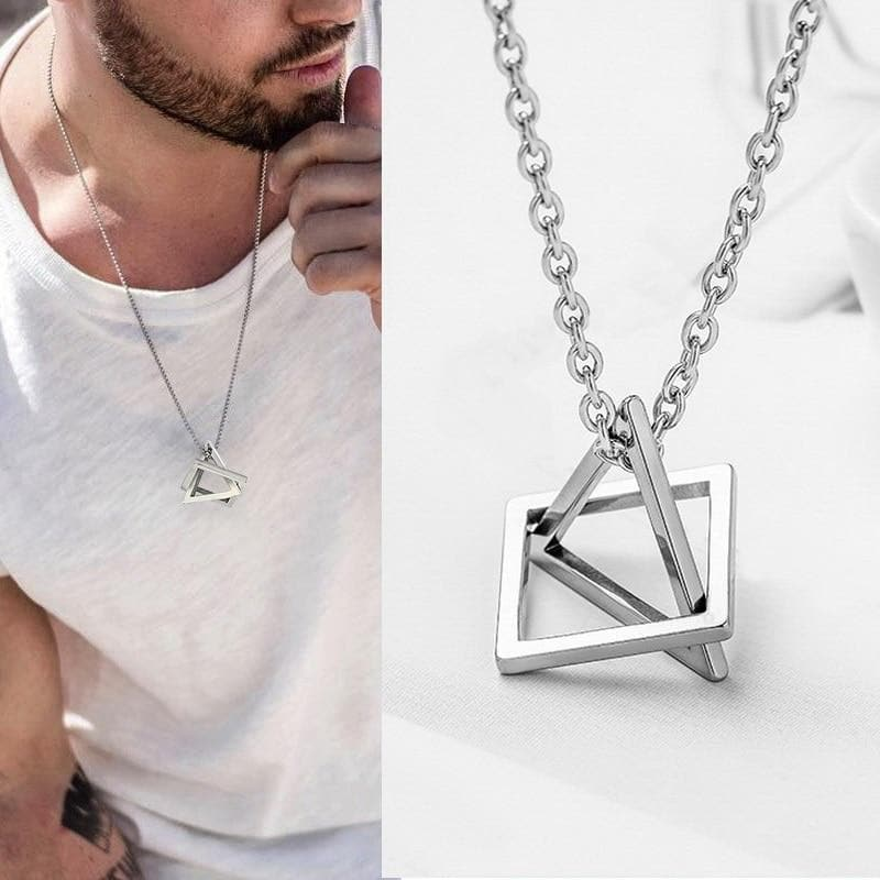 "Collier Pendentif ""Lux Triangle"" Chaine Style Homme"
