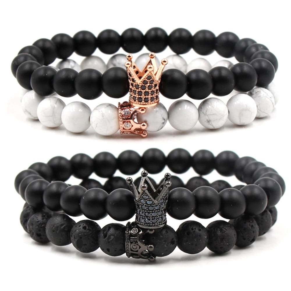 "Bracelet Mala Duo Couple ""King & Queen"" Couronne"
