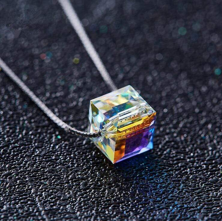 Terre Spirituelle - Shop SHDEDE 925 Silver Square Sugar Necklace Crystal with Simple Character and Aurora Classic style Crystal from Swarovski Spiritualite Yoga Bien etre zen ame new age