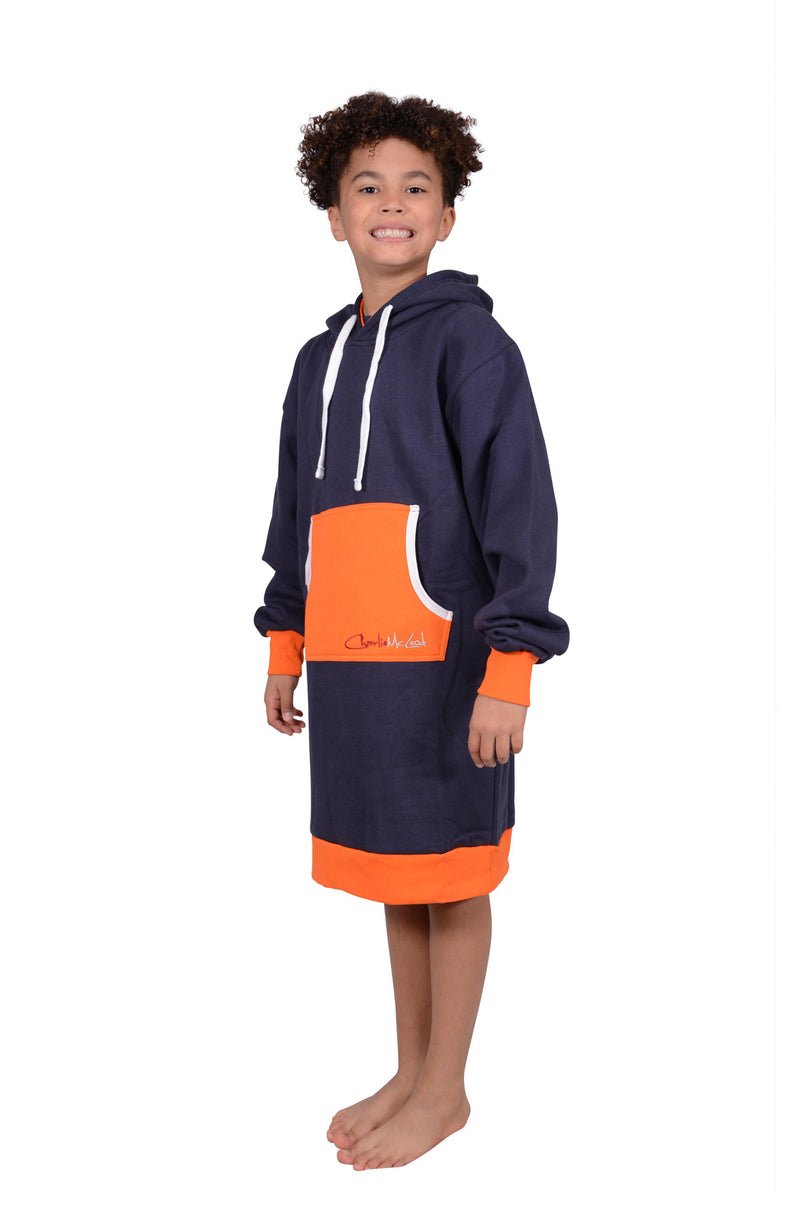 Long Hoodie Navy Orange