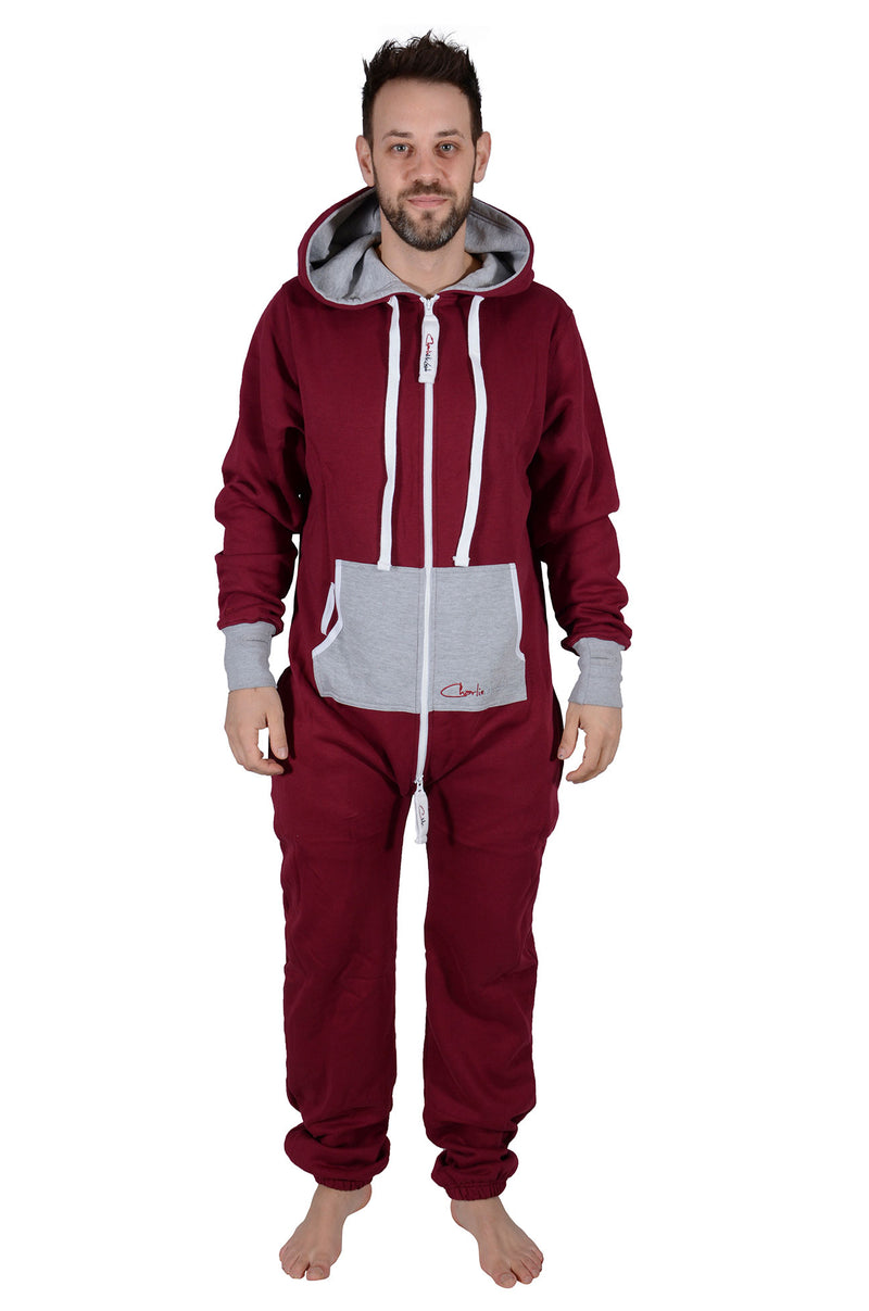 All New Onesie Burgundy Grey