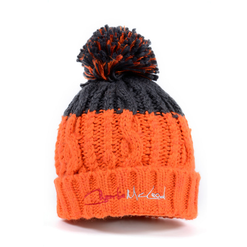 Beanie Orange Grey