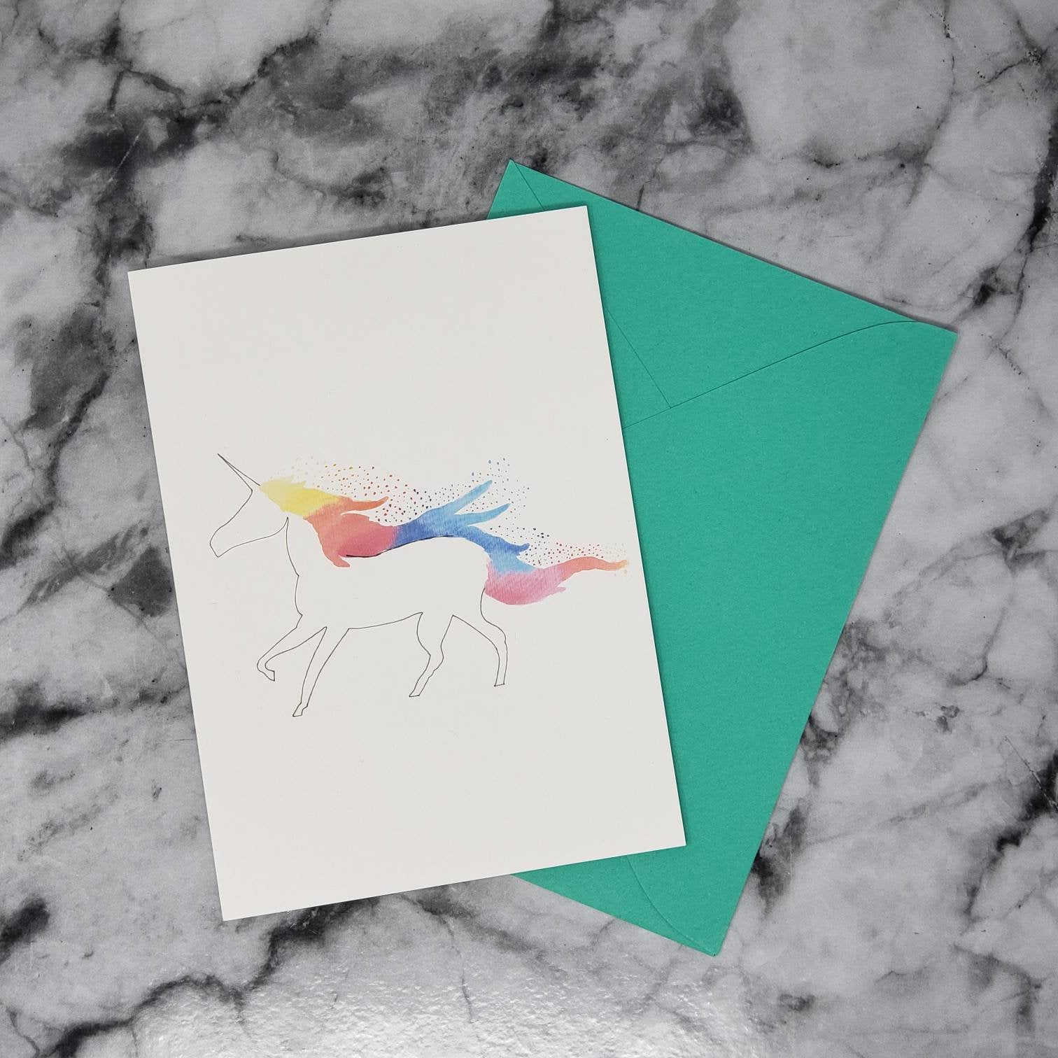 Unicorn Greeting Card (A7) With Envelope