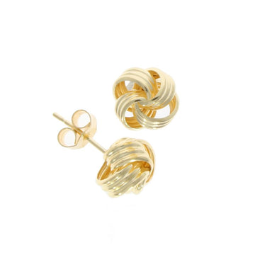 9ct Yellow Gold Ribbed Knot Stud Earrings
