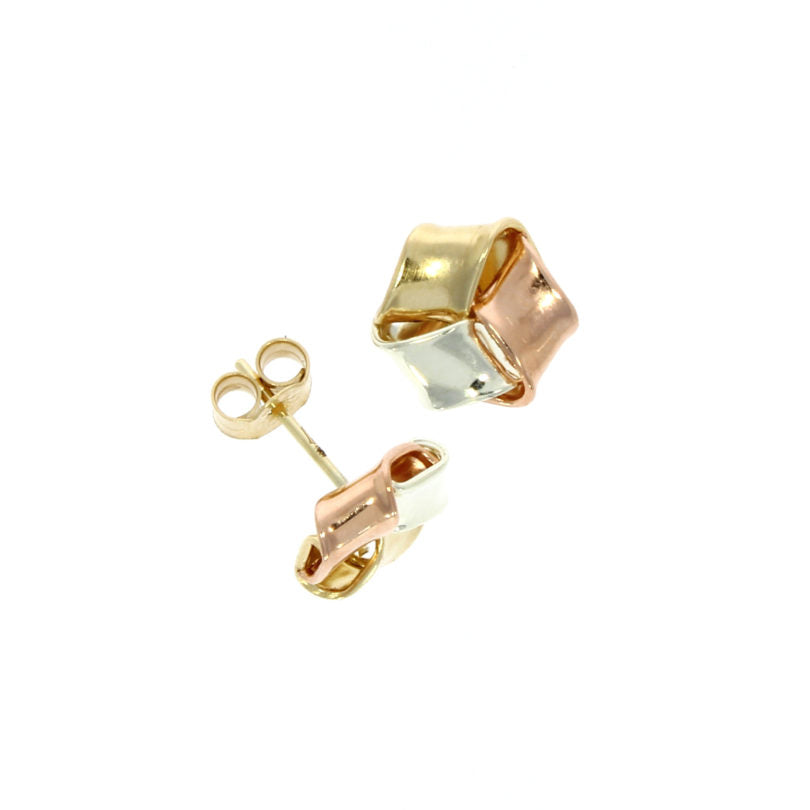 9ct 3 Colour Flat Knot Stud Earrings