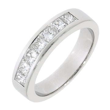 Platinum 1.00ct Diamond Half Eternity Ring
