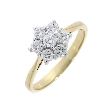 18ct Yellow Gold 0.50ct Cluster Diamond Ring