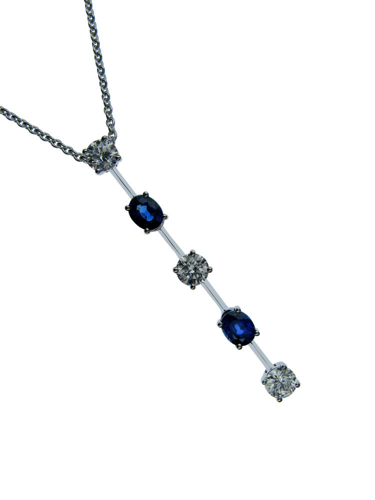 18ct White Gold Sapphire and Diamond Bar Drop Necklace