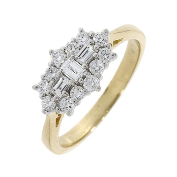 18ct Yellow Gold 0.61ct Cluster Diamond Ring