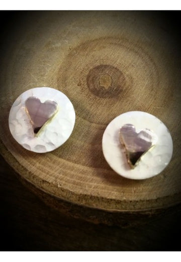 Silver Yulan Planished Hearts Stud Earrings