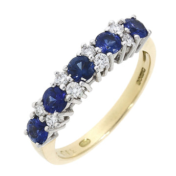 18ct Yellow Gold Sapphire & Diamond Half Eternity Ring
