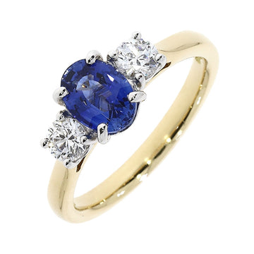 18ct Yellow Gold 3 Stone Sapphire & Diamond Ring