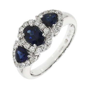 18ct White Gold Sapphire & Diamond Triple Cluster Ring