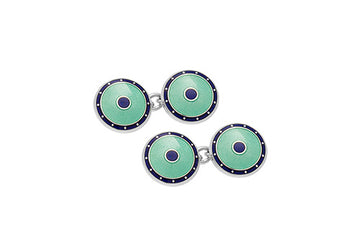Silver and Enamel Chain Cufflinks