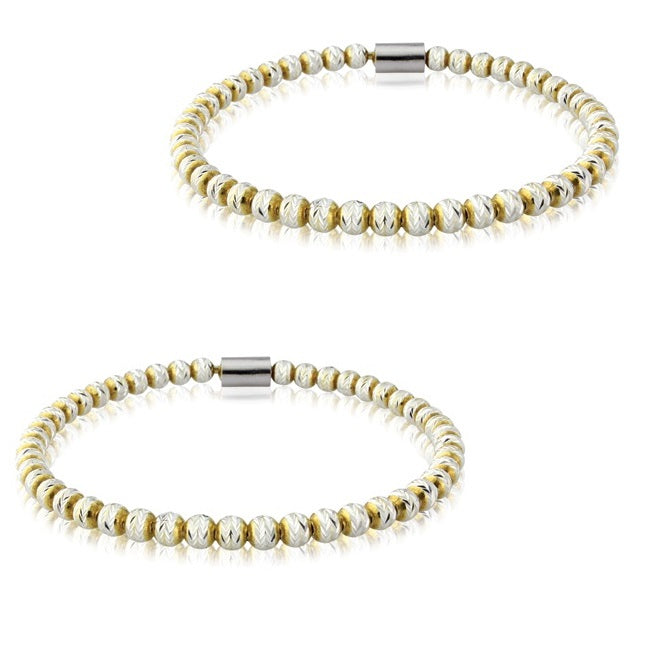 Pair of Silver Stacking Bead Micro Bracelets