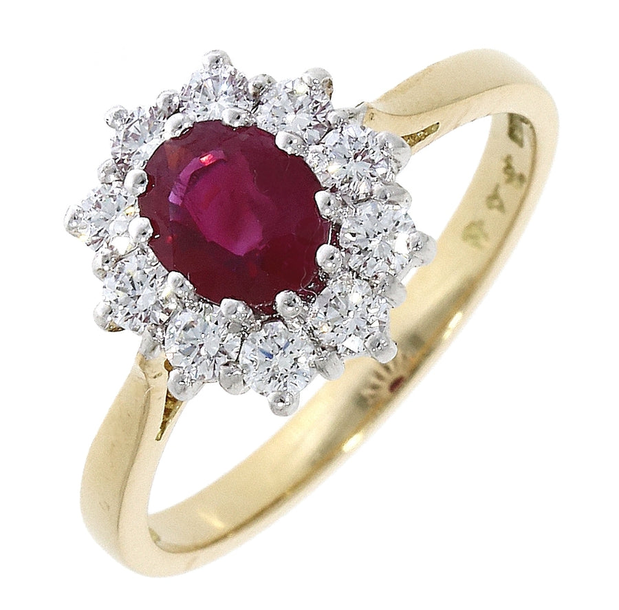 18ct Yellow Gold Ruby & Diamond Cluster Ring