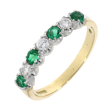 18ct Yellow Gold Emerald & Diamond Half Eternity Ring