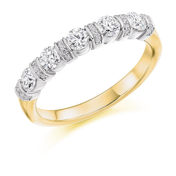 18ct Yellow Gold 0.60ct Diamond Half Eternity Ring