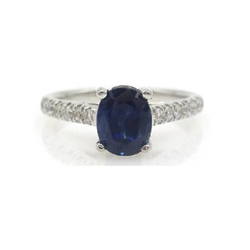 18ct White Gold Solitaire Sapphire Ring